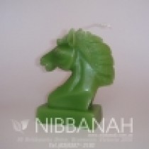 Knight Horse Head candle, green