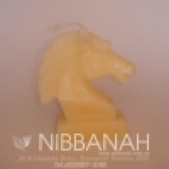 Knight Horse Head candle, white