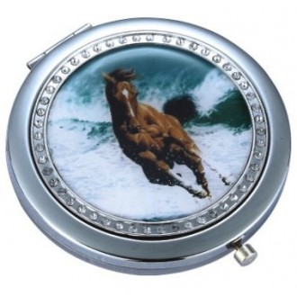 Compact Mirror - Diamontes - Wave Horse