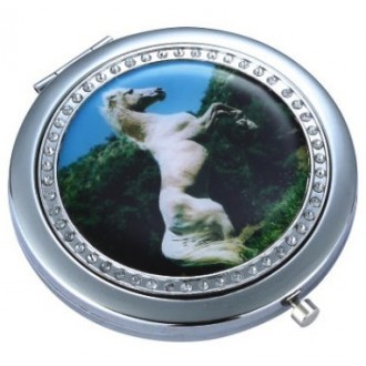 Compact Mirror - Diamontes - White Stallion