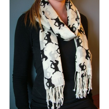Scarf, Cream with black horse motif