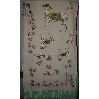Scarf, Multi colours, horse & chariot design