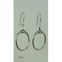 Stirling Silver Oval Bit Drop earrings