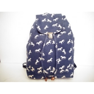 Navy / Denim horse print back pack