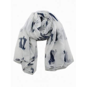 Dachshund scarf, white with Navy dogs