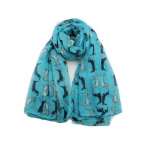 Dachshund's with jackets scarf, bright blue