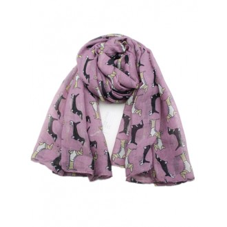Dachshund's with jackets scarf, purple