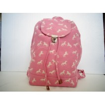 Pink horse print back pack