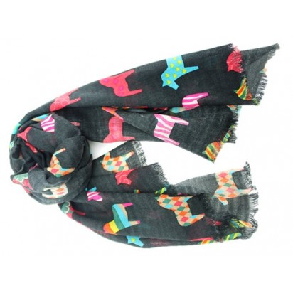 Swedish 'Dala' horse scarf, black